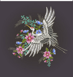 japanese white crane and flowers vector image
