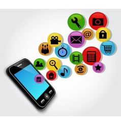 mobile phone and symbols vector image