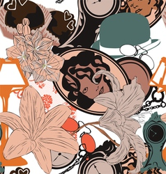 seamless background in art nouveau style vector image vector image