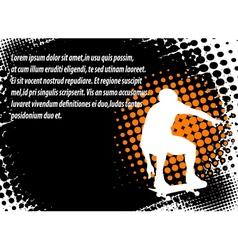 skateboarder halftone background vector image