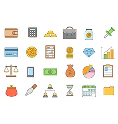 Banking and finance colorful icons set vector image