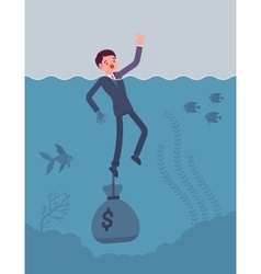 Businessman drowning chained with a dollar sack vector