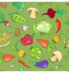 Seamless pattern with vegetables green vector image