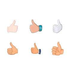 thumb up icon set cartoon style vector image