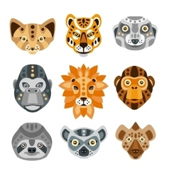 African animals stylized geometric heads set vector
