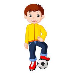 boy cartoon playing soccer vector image vector image
