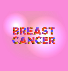 breast cancer concept colorful word art vector image vector image