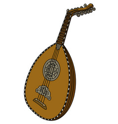 Historical wooden lute vector