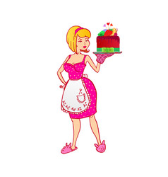 housewife with berries cake vector image