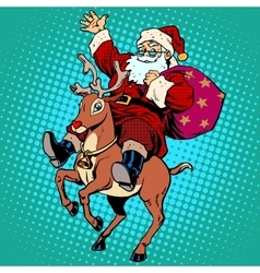 Santa Claus with gifts Christmas reindeer Rudolf vector image vector image