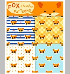 Set of animal seamless patterns with fox 1 vector image vector image