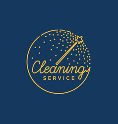 the logo of the company on cleaning of rooms vector image vector image