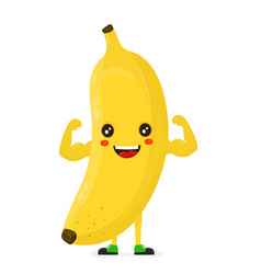cute happy strong smiling banana show muscle vector image