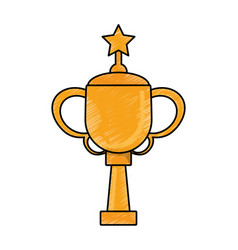 Drawing winner cup star trophy vector