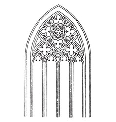 Gothic tracery vaulted roofs vintage engraving vector