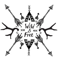 hand drawn wild free inspirational lettering vector image