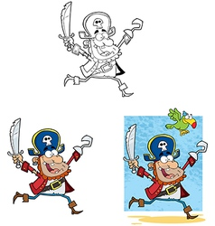Pirate Running with Sword and Hook Collection vector image vector image