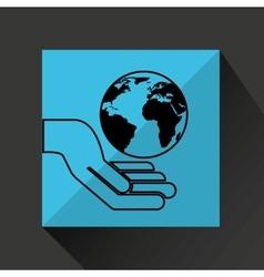 silhouette hands environmentally friendly globe vector image