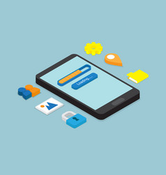 smartphone loading application isometric vector image