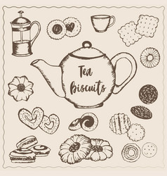 tea with biscuits vector image