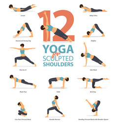 12 yoga poses for sculpted shoulders vector