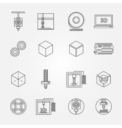 3d print icons vector