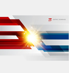 Abstract technology geometric red and blue color vector