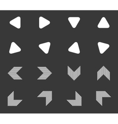 Arrow icon set 5 monochrome vector