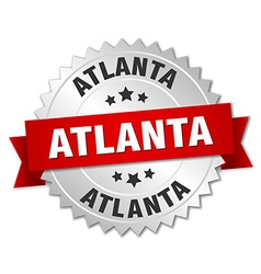 Atlanta round silver badge with red ribbon vector