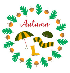 autumn frame with rubber boots vector image
