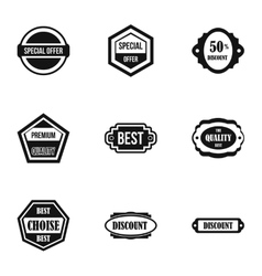 Badge icons set simple style vector