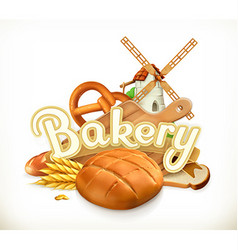 Bakery Bread 3d label vector image