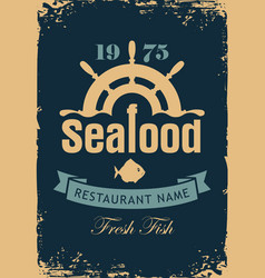 banner for seafood restaurant with wheel and fish vector image
