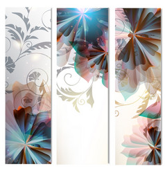 Brochures set with abstract florals vector