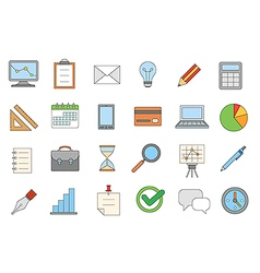 Business colorful icons set vector