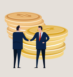 business investment agreement standing handshake vector image