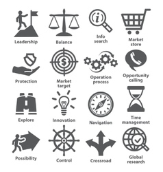Business management icons Pack 13 vector image