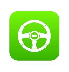 car steering wheel icon digital green vector image