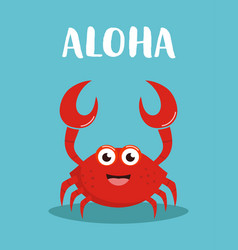 card with cute crab print for kids vector image