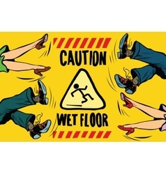 caution wet floor feet of women and men vector image