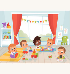 Children playing room little new born or 1 years vector