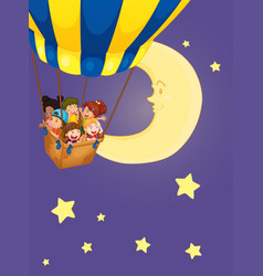 children riding on balloon at night vector image