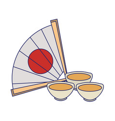 Chinese hand fan icon image vector