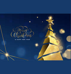 christmas and new year gold 3d pine tree card vector image