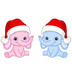Christmas baby elephants vector