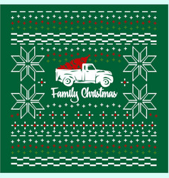 Christmas jumper or sweater with car and tree on vector