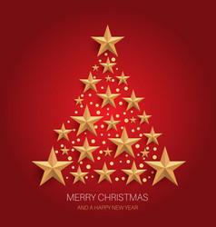 christmas tree design gold stars 1211 vector image