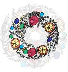 christmas wreath liner and color vector image