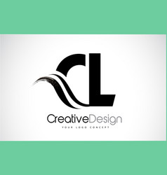 Cl c l creative brush black letters design with vector
