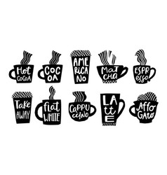 Coffee cocoa cappuccino espresso quote lettering vector